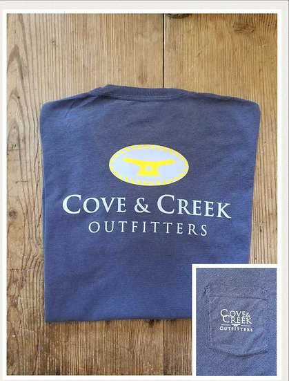 Short Sleeve Cove & Creek Pocket Tee in Indigo with Light Blue and Yellow