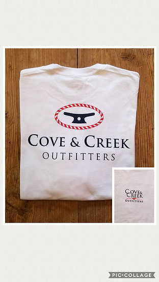 Long Sleeve Cove & Creek Tee in White with Navy and Red