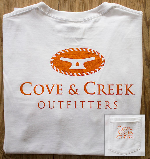 Short Sleeve Cove & Creek Pocket Tee in White with Orange