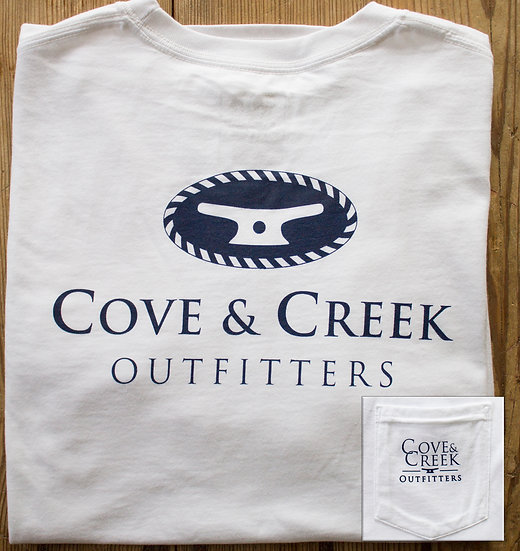 Wholesale Classic Rope & Cleat Pocket Tee in White with Navy
