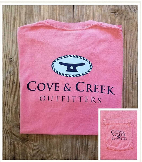 Short Sleeve Cove & Creek Pocket Tee in Coral with Navy and Light Blue