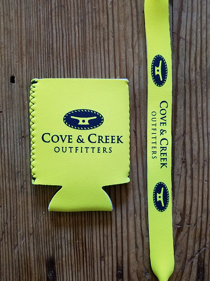 Cove & Creek Yellow Can Holder-Sunglass Strap Combo with Navy