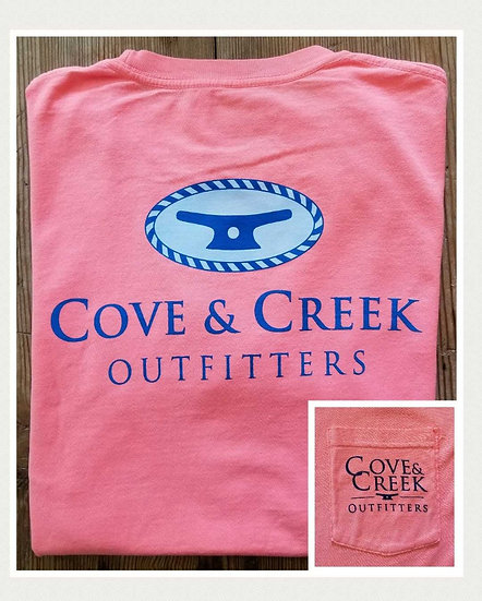 Sample Short Sleeve Cove & Creek Pocket Tee in Elec. Coral with Navy/Light Blue