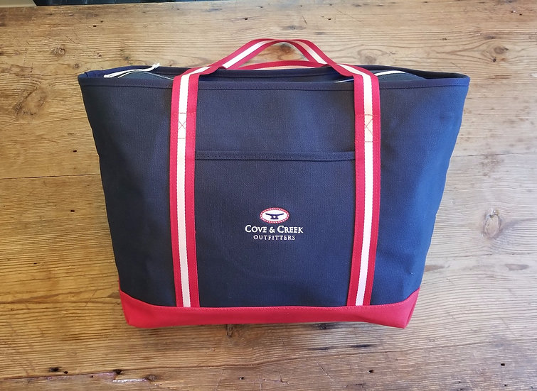 Large Marina Tote in Navy with Red, White and Blue