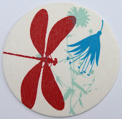 GlasTräger Libelle rot & Blumen