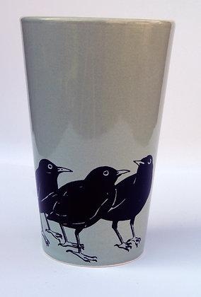 TafelFreude Tasse/Vase salbeigrün 3Amseln