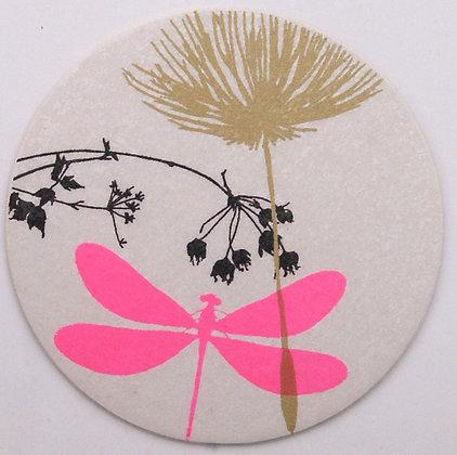 GlasTräger Libelle pink & Blume