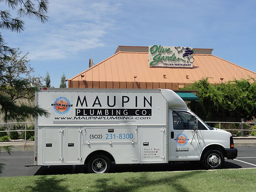 Maupin Plumbing at Olive Garden fixing their water heater so they don't have to shutdown.