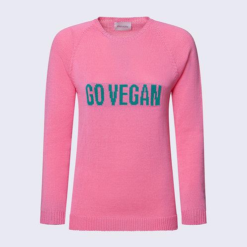 Maglione vegano in cotone organico - Girocollo con scritta GO VEGAN