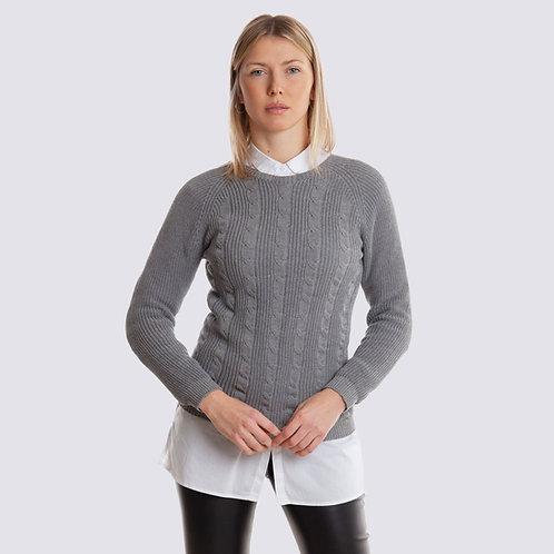 Maglione vegano in cotone organico - Girocollo con treccia