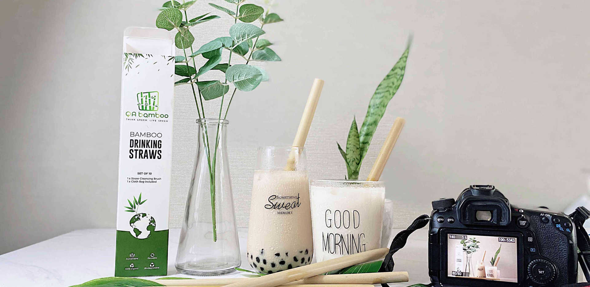 Bamboo Straw Boba Milk tea