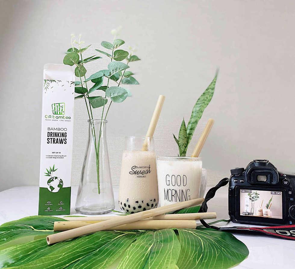 Bamboo Straw Boba Milk tea