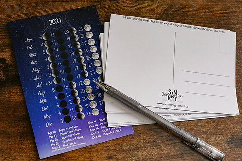Moon Phase Postcard Lunar Calendar 2021