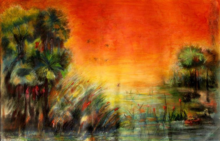 "Kopai river | Water colour on paper|24"" x36"""