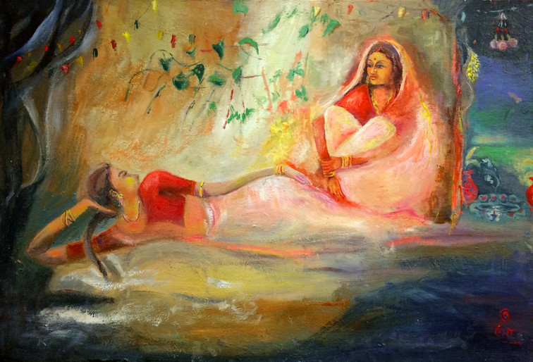 "Conversation   Oil on Canvas 24"" x 36"""
