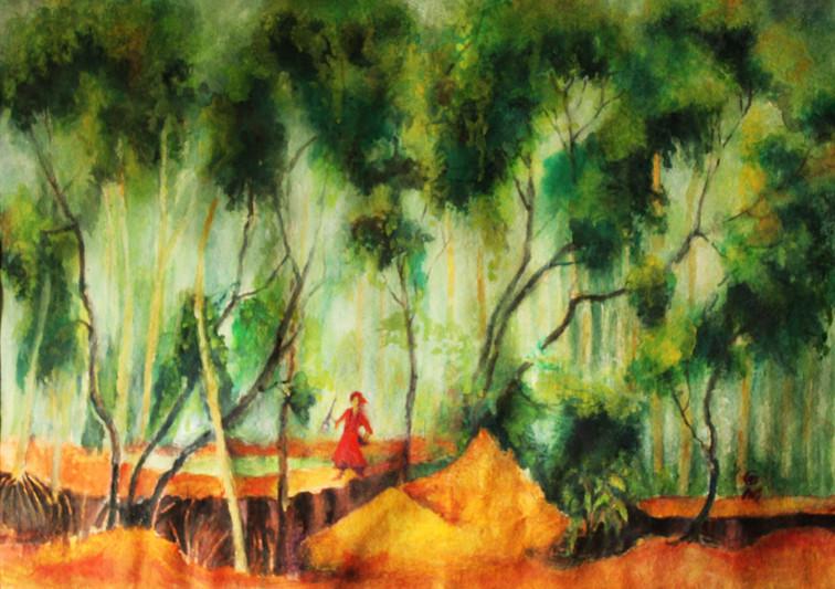 "Shantiniketan | Water colour on paper|24"" x 36"""