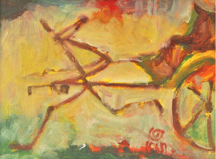 "Toil-3   Acrylic on canvas 12"" x 12"""