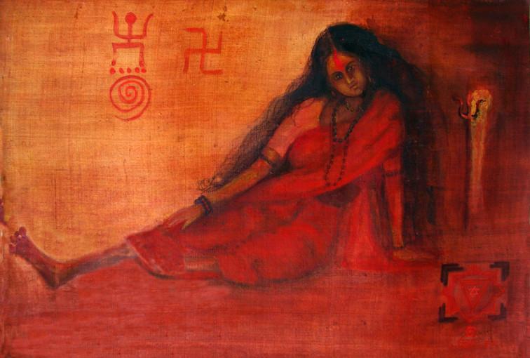 "Bhairavi   Water colour on Silk 24"" x 36"""