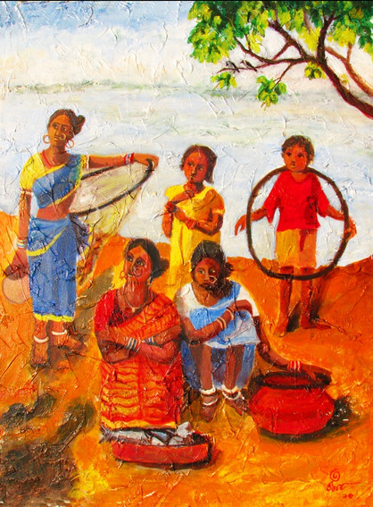 Fisherwomen | Acrylic on canvas
