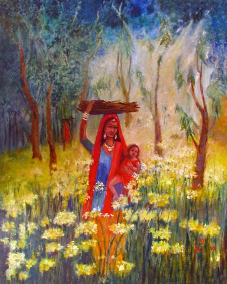 "Village woman2 | Oil on canvas|24"" x 36"""