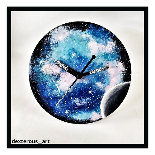 Galaxy Painted Clock Resin Coated