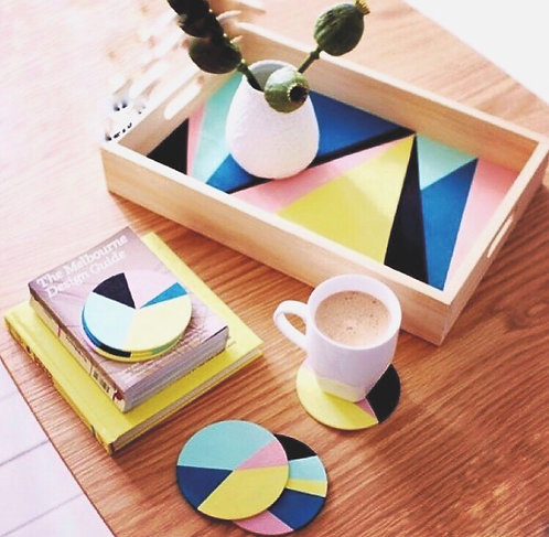 Wooden Tray and Coaster Set