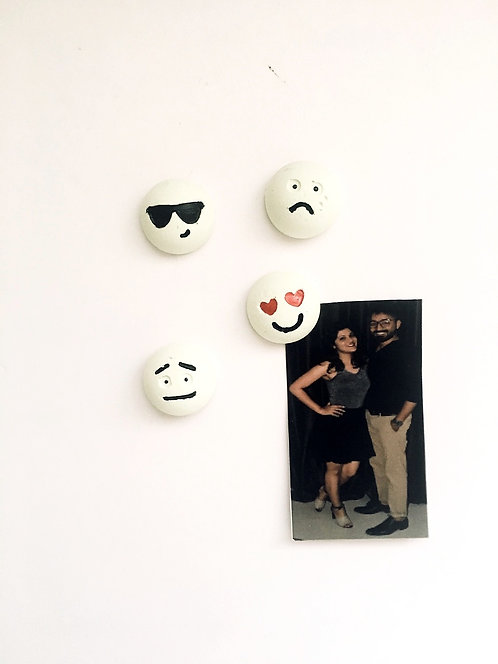 Concrete Smiley Magnets (set of 4)