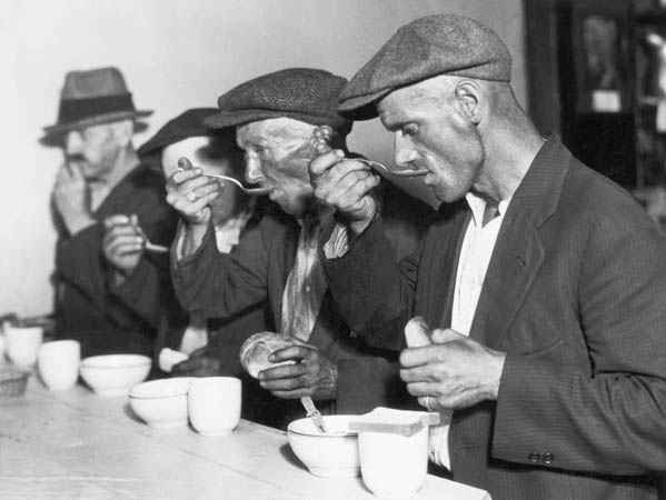 INT. SOUP KITCHEN (1930s)