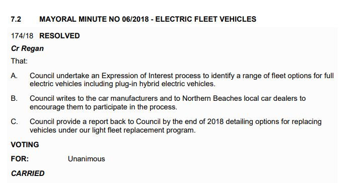 Mayoral Minute for Electic Car Fleet
