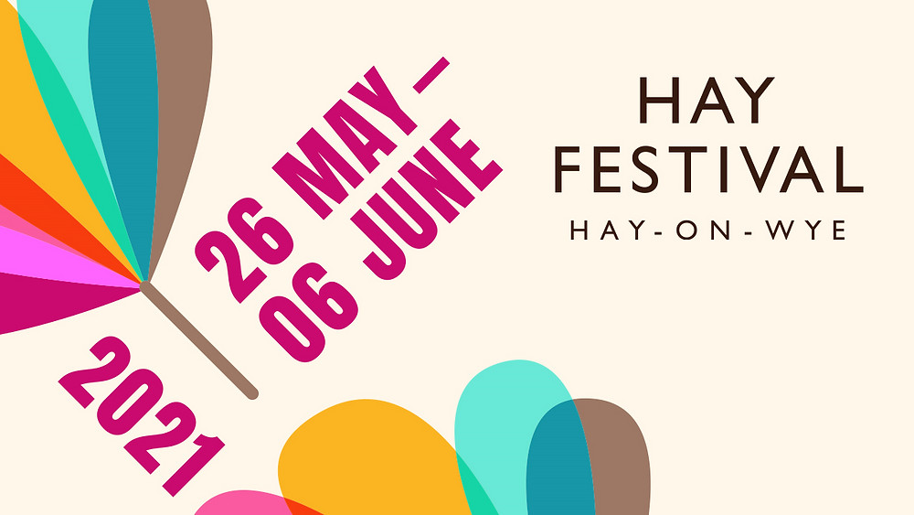 A graphic design of the Hay Festival 2021 dates with logo