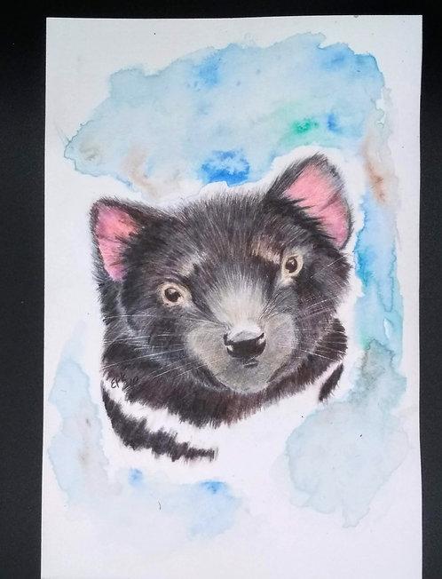 Tasmanian Devil, Original colored pencil and india ink portrait 6x9