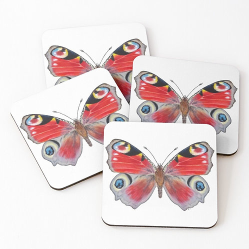 Set of 4 Peacock Butterfly Coasters