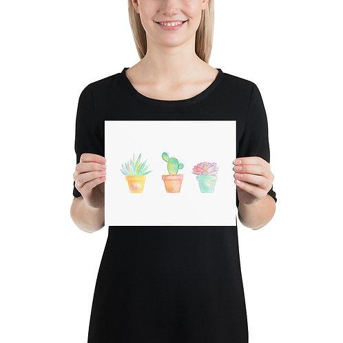Succulents Art Print, Watercolor on Watercolor Paper