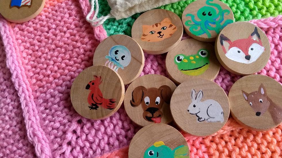 Story tiles, set of ten, assorted animals