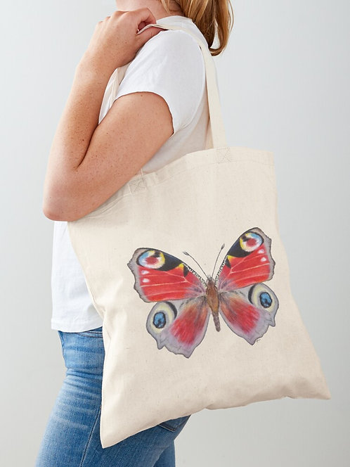 Peacock Butterfly Cotton Tote