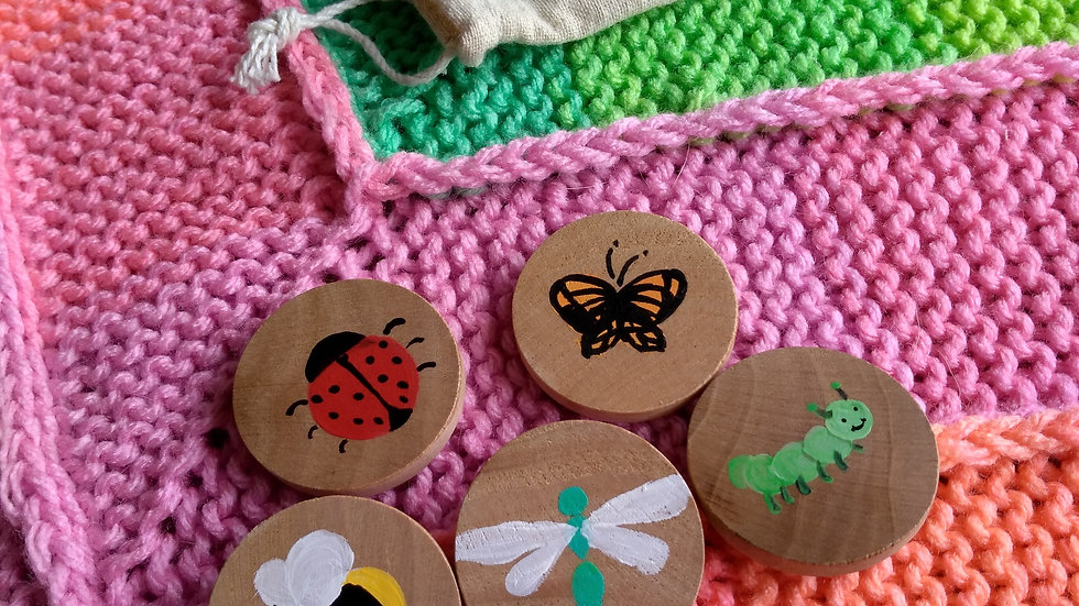 Story tiles, set of five, assorted bugs
