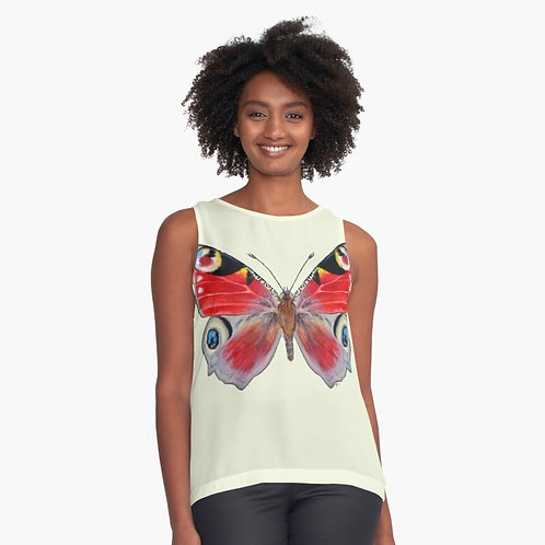 Peacock Butterfly Sleeveless Chiffon Top