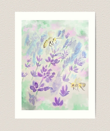 "12x16"" Premium Art Print Bees and Lavender"