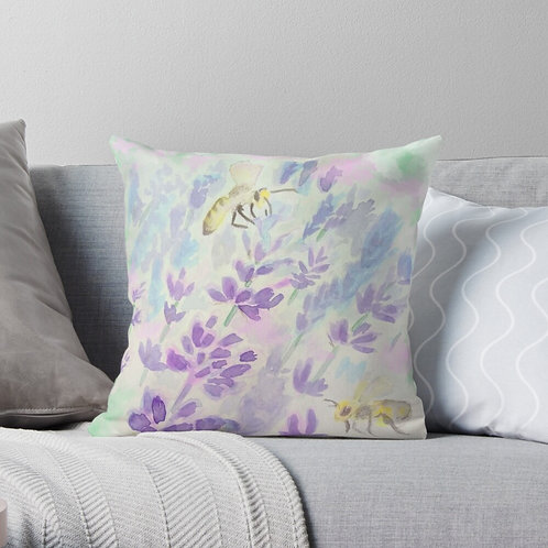 Bees and Lavender Throw Pillow