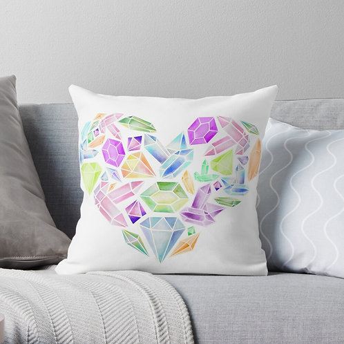 Heart of Gemstone Throw Pillow
