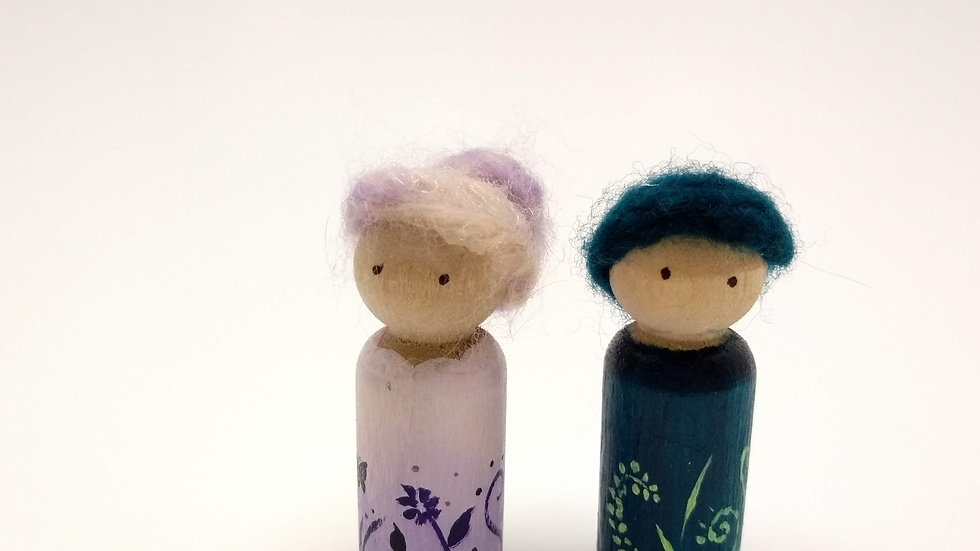 Fairy/ Gnome Peg Doll Couple