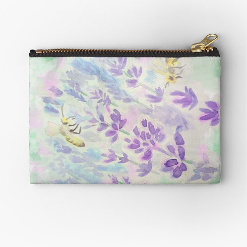 Bees and Lavender Zipper Pouch