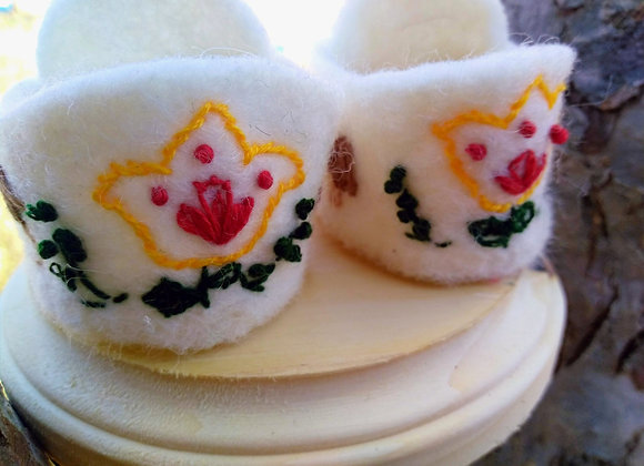 Hand Embroidered Wool Waldorf Doll Shoes