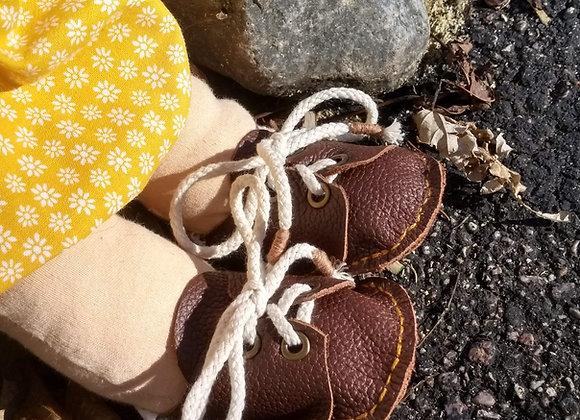 Handmade Genuine Leather Waldorf Doll Shoes
