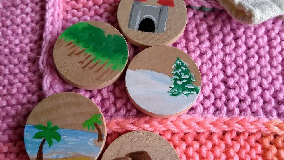 Story tiles, set of five, assorted settings