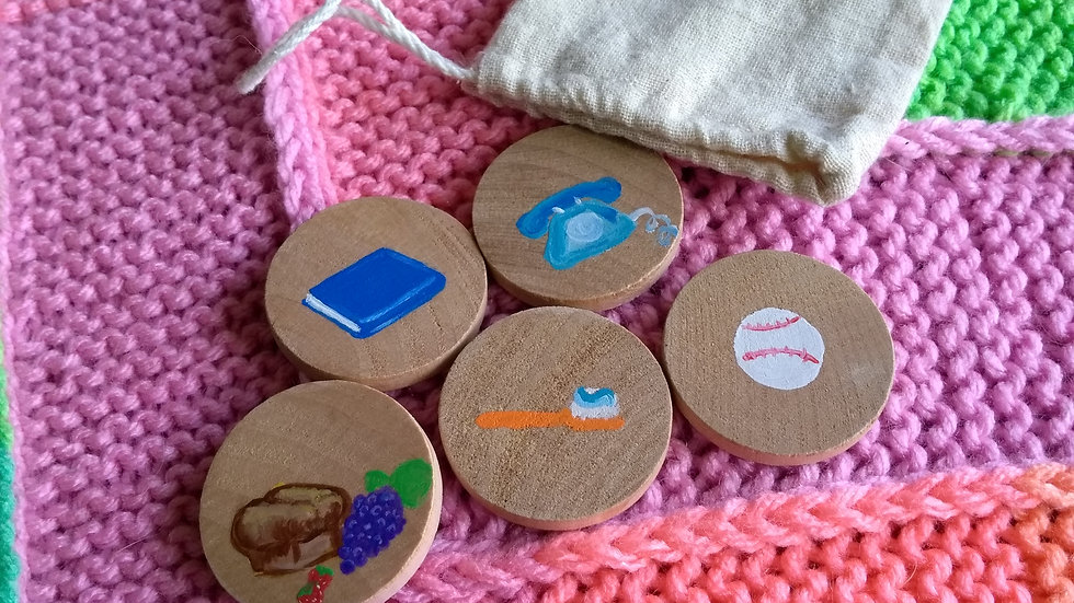 Story tiles, set of five, assorted household items