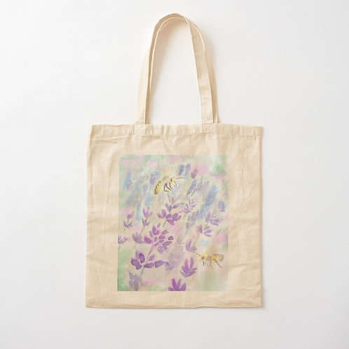 Bees and Lavender Cotton Tote