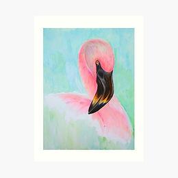 16x12 Premium Art Print Flamingo