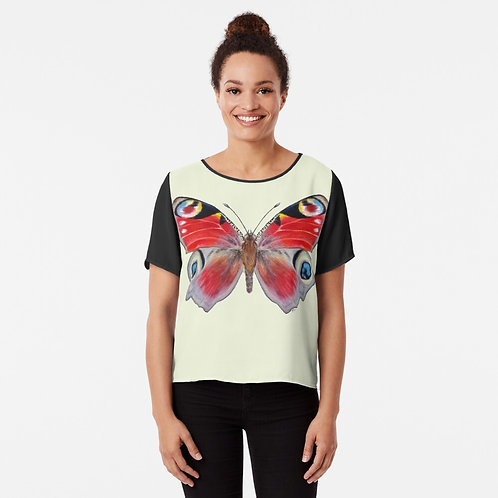 Peacock Butterfly Chiffon Top
