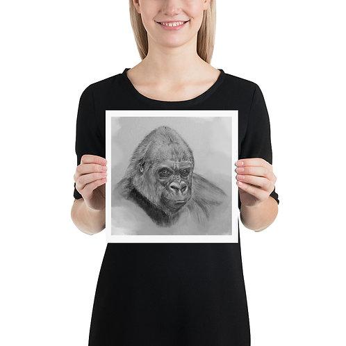 Gorilla Art Print, Graphite on Sketch Paper